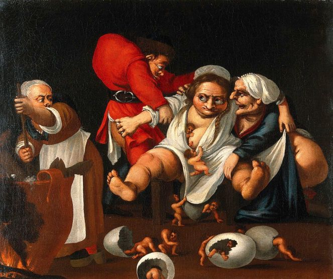 Grotesque_parody_of_an_accouchement._Oil_painting_attributed_Wellcome_V0017238